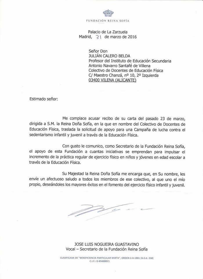 Carta SSMM Reina Sofía - Josemi-Educación-Física